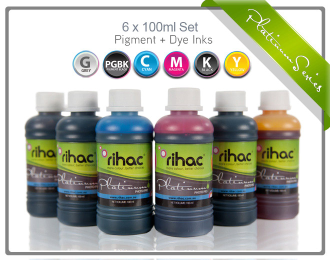 6 x 100ml ink set to suit Canon 670 & 671 Series for Refillable Cartridges