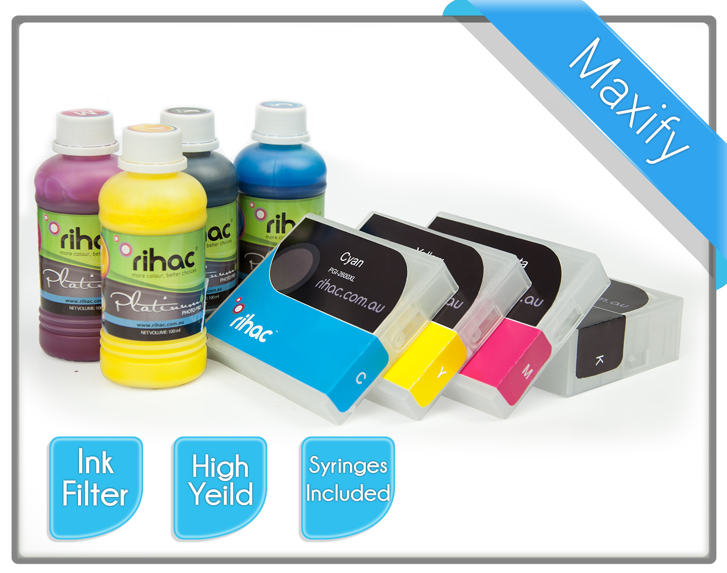 MB5060 Refillable Cartridge Set with  100ml Pigment Inks