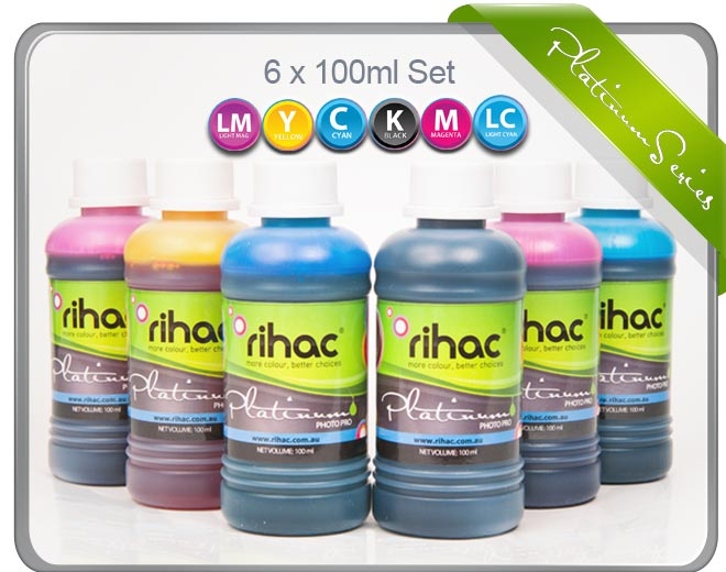6 x 100ml Inks to suit Epson Printers Using 81, 82, 82N, T0811-T0816 & T0821-T02816 Cartridges