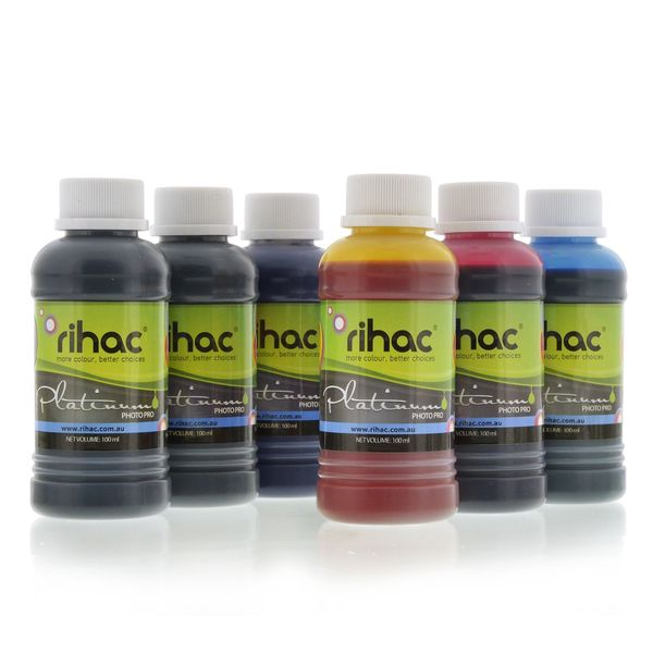 6 x 100ml Dye ink set to suit Canon 680 & 681 Series for Inklink CISS