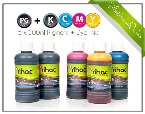 5 x 100ml inks to suit Canon CLI-671 & PGI-670 series for Refill Carts (Pigment BK & 4 Dye)