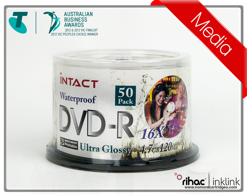 Intact DVD-r 50pk 16x - Waterproof & Photo Glossy printable