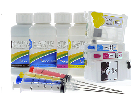 Epson 252 & 252XL Refillable Cartridges & Pigment Ink Set
