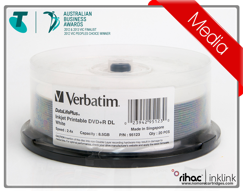 Verbatim 20pk DVD+R D/L 8.5GB 2.4x White Printable